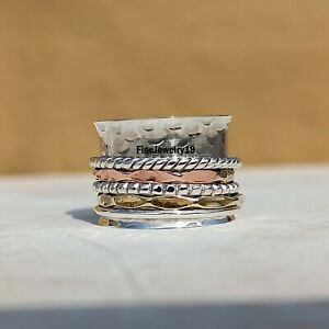 925-Sterling-Silver-Spinner-Ring-Wide-Band-Meditation-Statement-Jewelry-A375