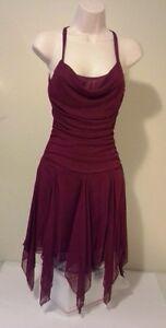Holiday evening dress burgundy knee length size s ebay