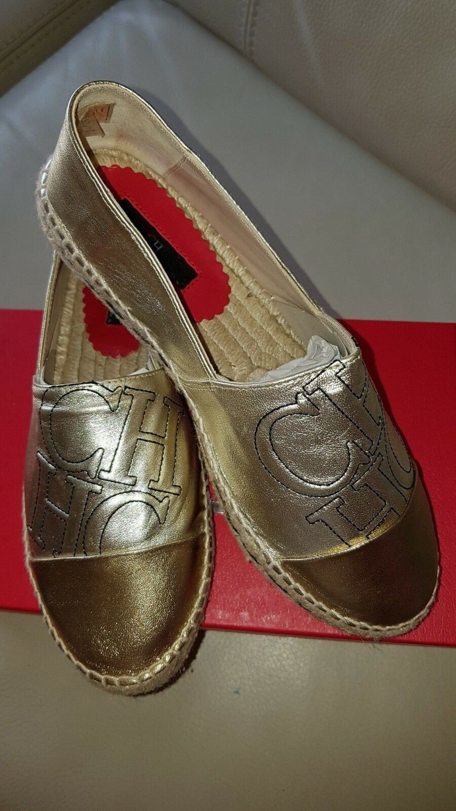 Discount Shoes gold and silver leather Espadriles Carolina Herrera SIZE , 37