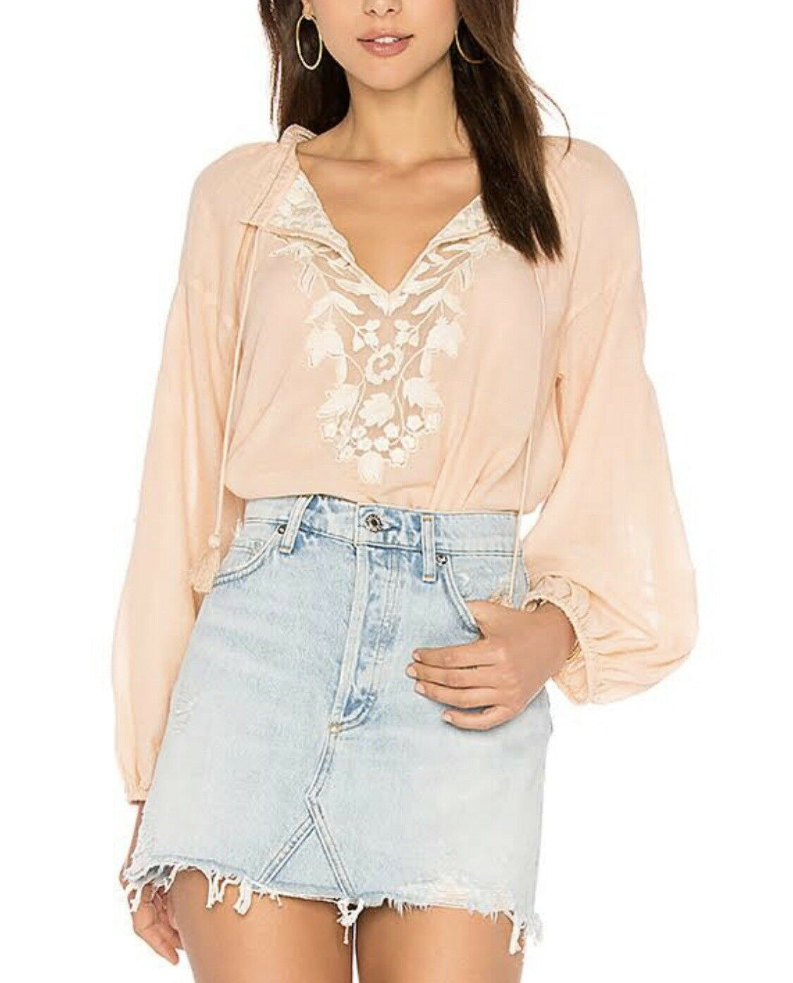 Free People Shimla Cotton Embroidered Peasant Top. color peach, size S