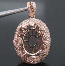 Oval Cut 10×13mm Solid 14Kt Rose Gold Natural VS Diamond Semi Mount Pendant