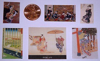 Japanese Ukiyo-e print of Kite Flying Dollhouse Miniatures