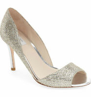 Cole Haan Antonia Shoes Silver Gold Leather D'orsay Pumps Heels 8.5 B $270