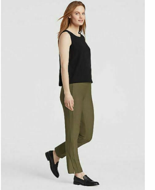Eileen Fisher Olive Green Washable Stretch Crepe w  Slits Slim Pant PM, S, L