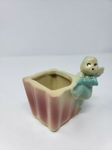 VINTAGE-536-SHAWNEE-USA-POTTERY-PLANTER-FAIRY-PIXIE-CHERUB-SUCCULENT-POT-EUC