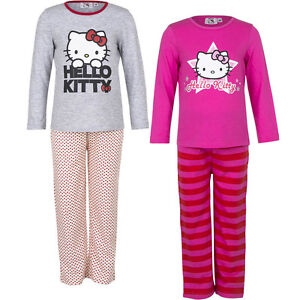 Neuf-Vetements-de-nuit-Lot-pyjamas-fille-hello-kitty-gris-rose-98-104-116-128-5