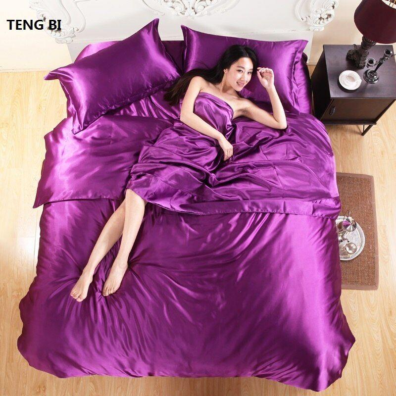 HOT 100% pure satin silk Bettding set,Home Textile König Größe Bett set,Bettclothes