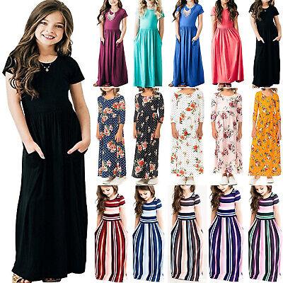 Girls Long Sleeveless Summer Party Maxi Dress Sundress Clothes