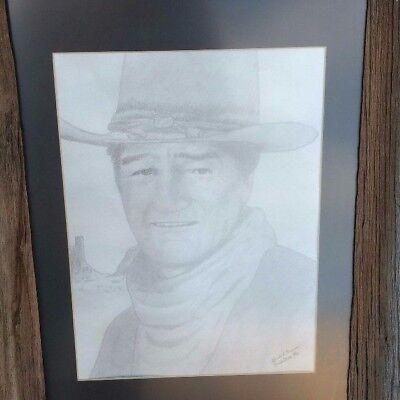 Pencil Art Of The Late Great John Wayne Framed In A Beautiful Unique Barnwood Ebay