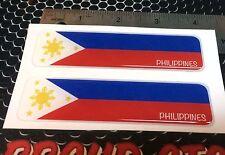"Philippines Proud Flag Domed Decal Emblem Car Flexible 3D 4x1"" Set of 2 Sticker"