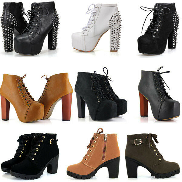 Sexy Women Ankle Boots Platform Thick High Heels Round Toe Strappy Lace-Up Shoes