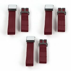 Chevy Impala 1959-1960 Airplane 2pt Burgandy Lap Bench Seat Belt Kit 3 Belts