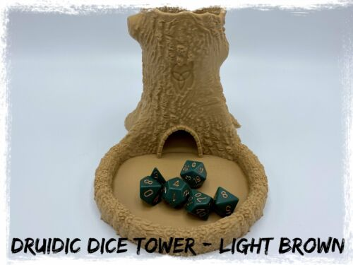 Druidic Dice Tower Light Brown Dungeons and Dragons DnD Tabletop Tray