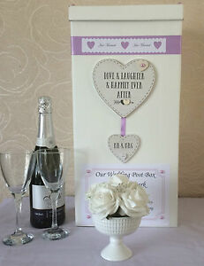 WEDDING-CARD-POST-BOX-PERSONALISED-LOVE-LAUGHTER-HEART-MR-amp-MRS-RIBBON-amp-PEARLS