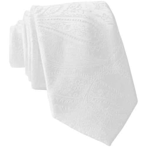 "New Men/'s Polyester Woven 2.5/"" skinny necktie only white paisley prom wedding"