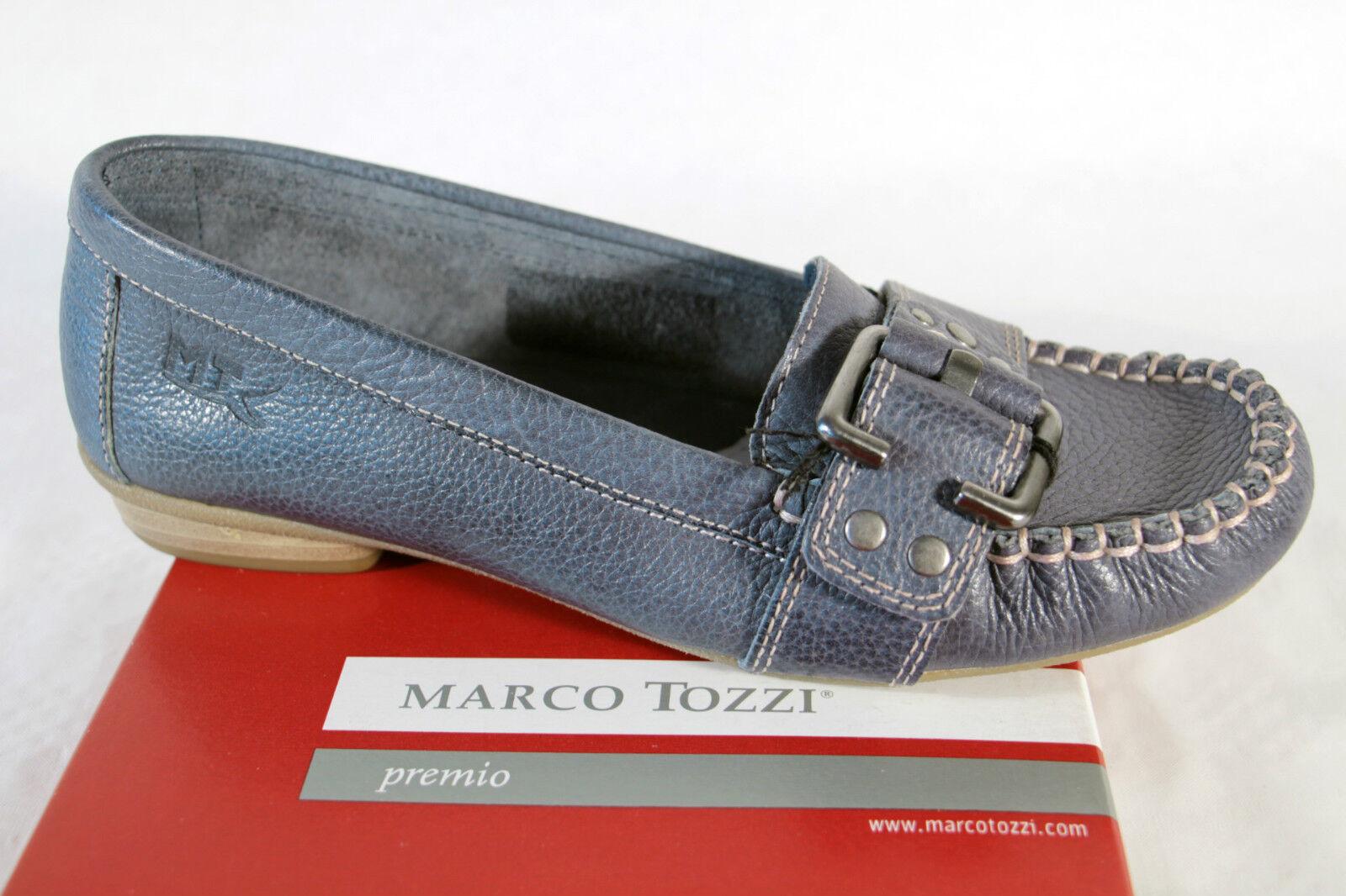 Marco Tozzi Damen Slipper Lederinnensohle Ballerina, blau Leder,  weiche Lederinnensohle Slipper NEU db0b54