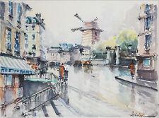 FRANZ HERBELOT-French Artist-Rare Original Signed WC-Moulin Rouge/Paris Scene