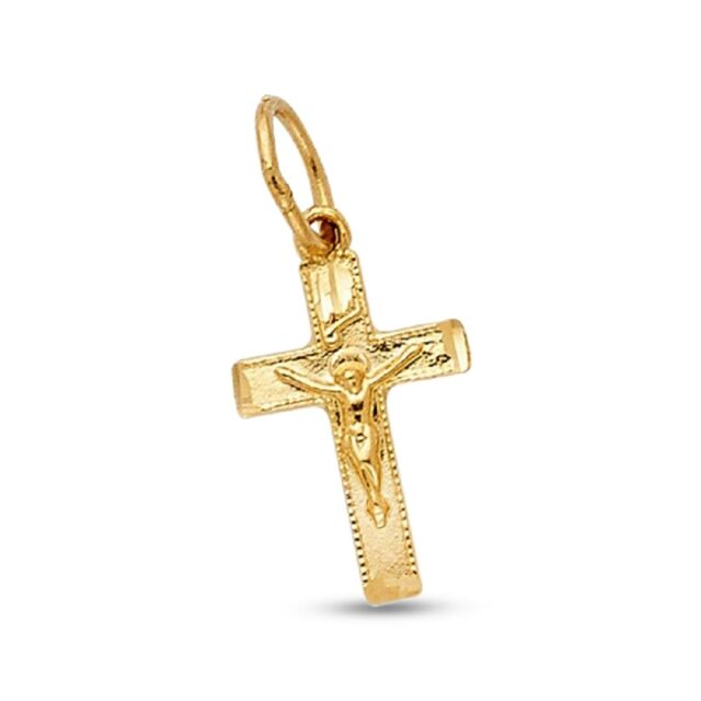 14K Yellow Gold Mariner Religious Crucifix Charm Pendant For Necklace or Chain