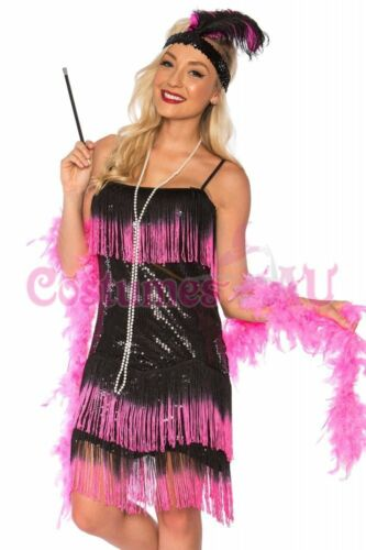 Deluxe Ladies 20s 1920s Charleston Flapper Black Pink Costume Fancy Dress AU