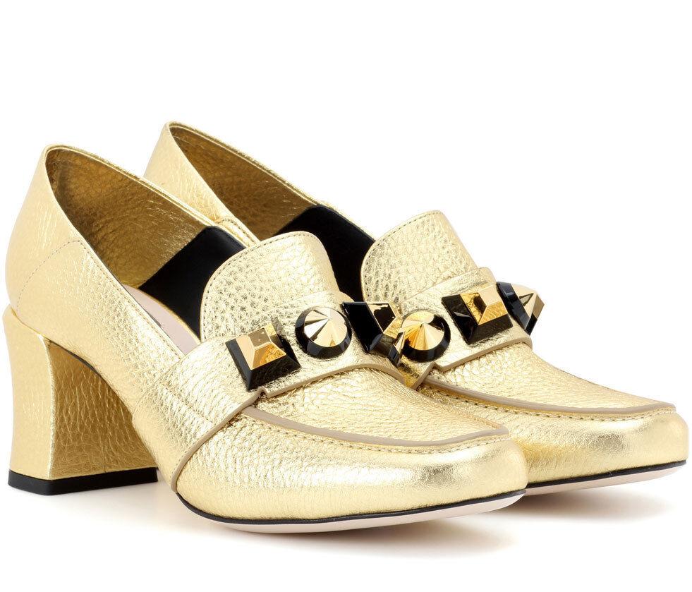 Fendi Fantazia Gold Leather Metallic Studs Loafer Pump 37.5 Shoes