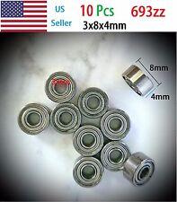 10pcs Miniature Ball Bearings 693zz 3x8x4mm 6193zz