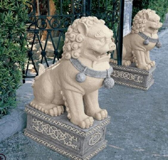 Outdoor Foo Dog Statues Lawn And Garden Decor Sculptures Chinese Animal Resin 1 Ebay