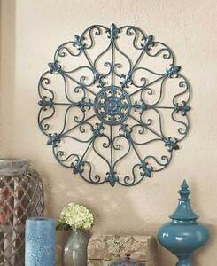 Scrolled-Wall-Round-Metal-Medallion-Entryway-Dining-Living-Decor-Iron-Home-Art