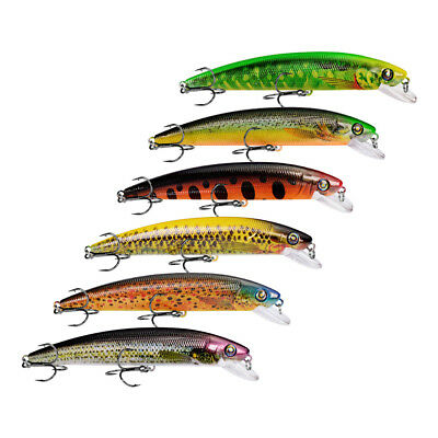 6pcs Lot 7.6cm//4.7g Fishing Lures Minnow With Box Fishing Bait Tackle Crankbait