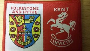 FOLKESTONE-HYTHE-DISTRICT-SCOUT-BADGE-KENT-INVICTA-COLLECTORS-CURRENT