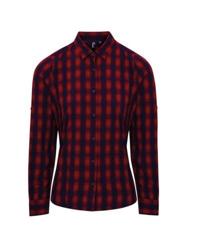 Premier Women/'s Mulligan Check Cotton Long Sleeve Shirt Casual Bar Cafe Workwear