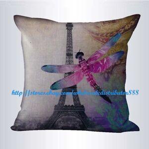 2pcs decorative pillowcases Eiffel Tower dragonfly cushion cover