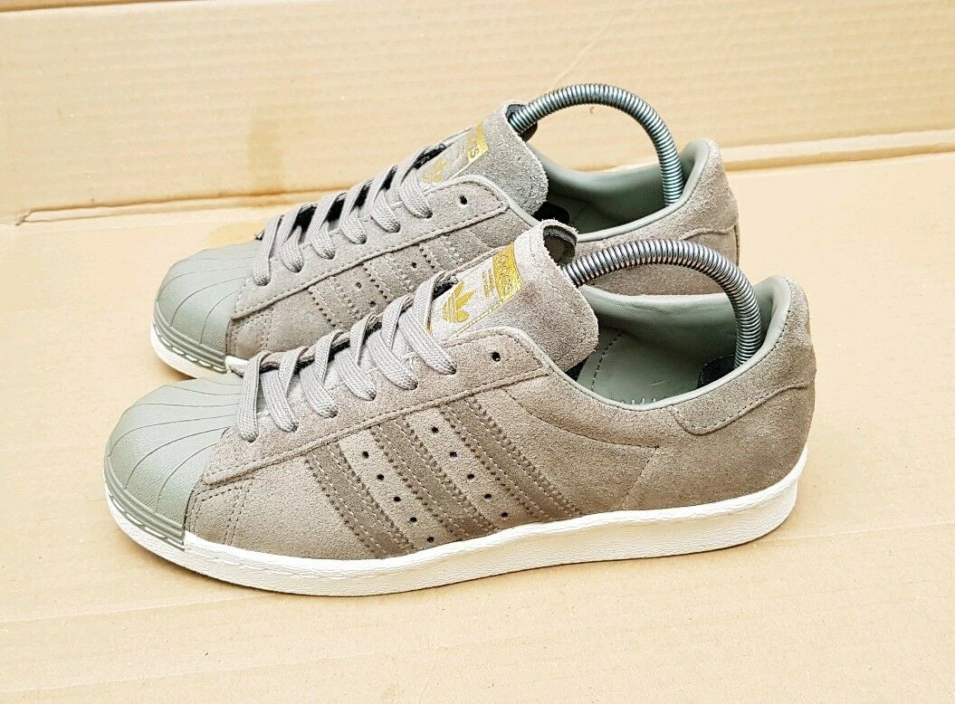 WORN ONCE ADIDAS SUPERSTAR 80's TRAINERS LIMITED EDITION SIZE 5 UK KHAKI & gold