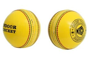 INDOOR YELLOW LEATHER CRICKET BALL PACK OF 6 TEST APPROVED ENTIRELY HAND STITCH