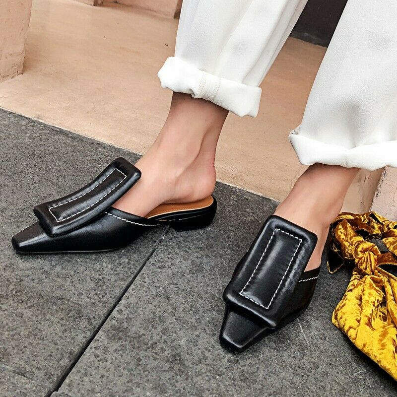Women's Leather Pointed Toe Oxfords Mules Flats Casual Slip On Sandals shoes 43