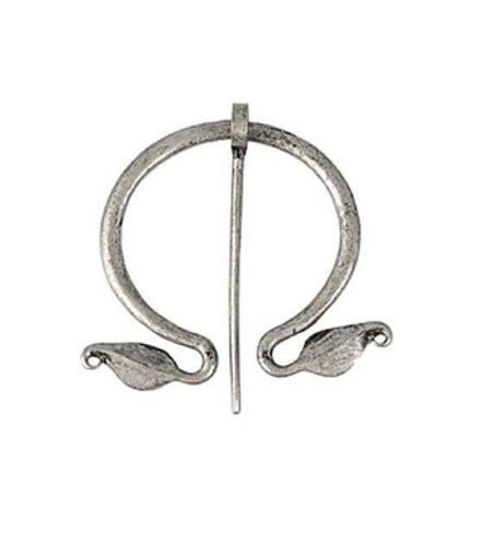 """Silvery 2-1/4"""" Smooth LEAF ENDS Celtic PENANNULAR Cloak Brooch with 2-3/4"""" pin"""