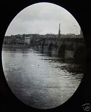 Glass Magic Lantern Slide THE BRIDGE OVER LOIRE AT BLOIS C1910 FRANCE
