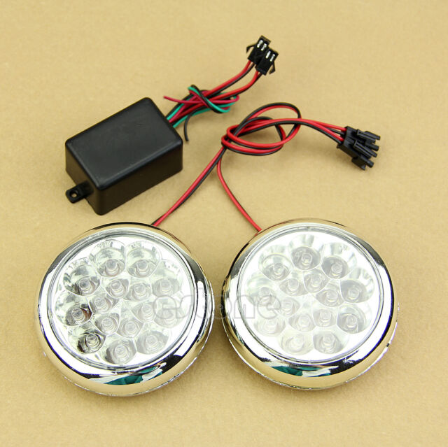 2x 12V Round Daytime Running Driving Lights DRL Front Fog Tail Work Lamp New