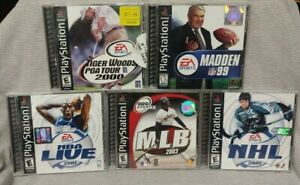 5 Sport Games Lot - Playstation 1 2 PS1 PS2 Madden NFL NHL Tiger Golf NBA MLB
