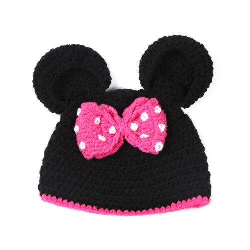Kids Baby Girl Mickey Minnie Mouse Crochet Hat Winter Warm Cap Beanie Photo Prop
