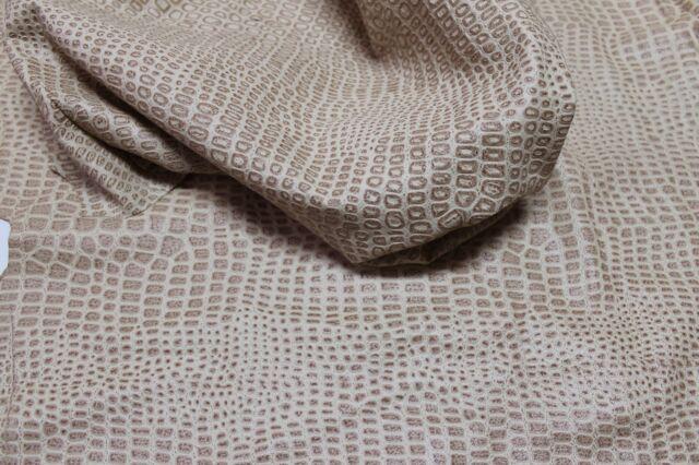 Lambskin leather skin skins hide hides VTG BEIGE CROCODILE EMBOSSED 25+sqf