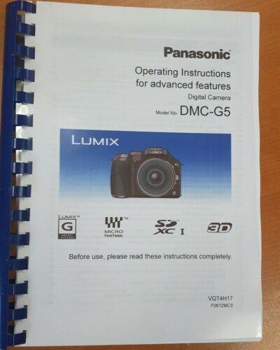 PANASONIC LUMIX DMC-G5 USER MANUAL INSTRUCTIONS PRINTED 232 PAGES A5