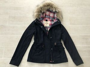 New-Hollister-by-Abercrombie-Women-Fur-Trim-Hooded-Wool-Jacket-Coat-Navy-Small