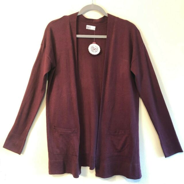 Kohl\u0027s SO Brand Junior Sweater Burgundy Cardigan Open Front 2 Pockets Size M