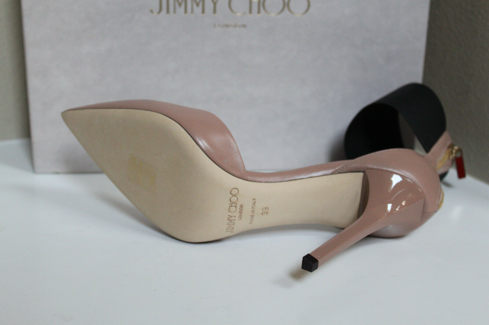 New sz 9 Pointed / 39 Jimmy Choo Trinny Nude  Leder Pointed 9 Toe ankle strap Pump schuhes b42ca9