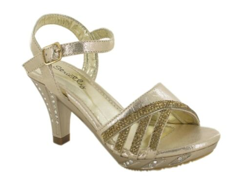 GIRLS PARTY DIAMANTE OPEN TOE SANDALS,ANKLE STRAP,GOLD OR SILVER 10-2 GSA-5307