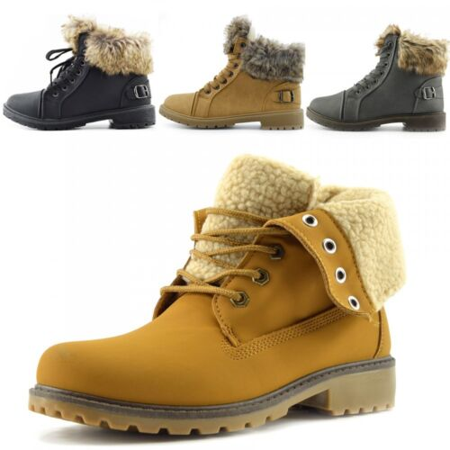 Ladies Outdoor Fashion Tread Sole Cozy Lined Ankle Boots