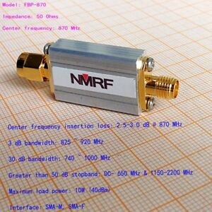 NEW 870 840 900 MHz Band Pass Filter SMA Interface