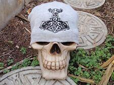goat hammer gray embroiderd beanie hat thors viking asatru norse amon amarth