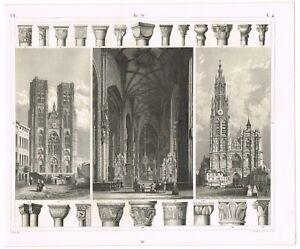Details about VINTAGE ANTIQUE PRINT 1851 ENGRAVING ARCHITECTURE MEDIEVAL  CATHEDRALS DETAILS