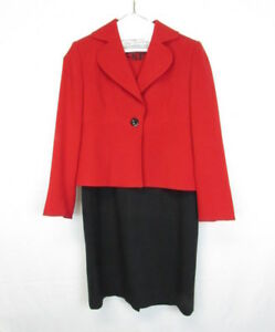 Vintage Kasper Womens Black Red Dress Suit Jacket Career Set Size